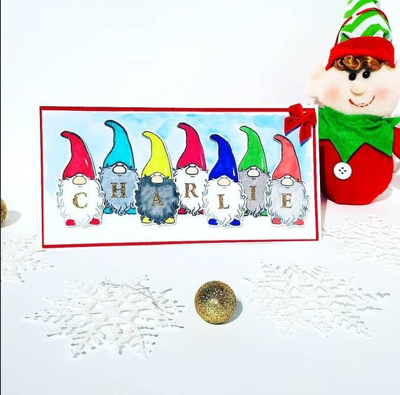 Personalised Gnomes Christmas Card Cute Gnomes Christmas Card