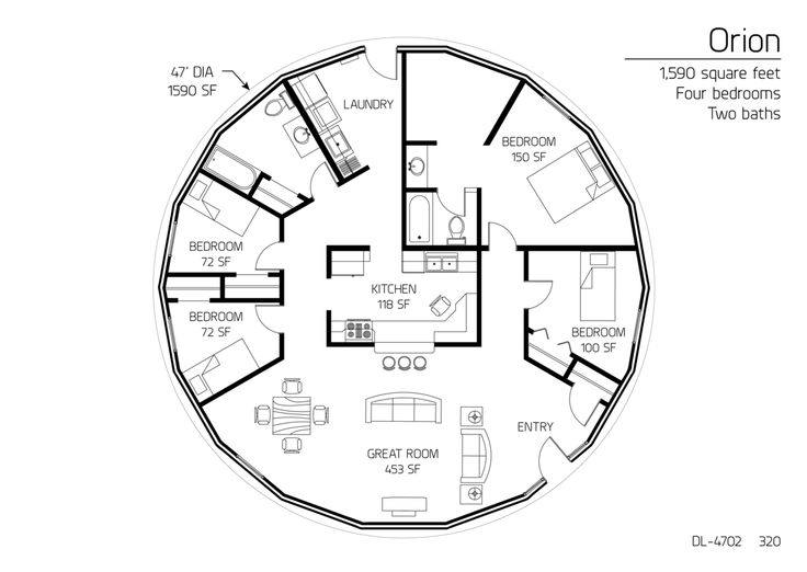 1 590 square feet four bedrooms two baths and hurricane for Hurricane resistant house plans