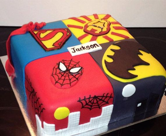 Superhero Boys Kids Birthday Cake, Noosa Sunshine Coast Cake Shop, Made to Order with Delivery - Superman, Batman, Spiderman, Ironman