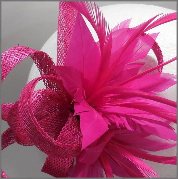 406123b5f Wedding hair clip, fuschia fascinator, pink headpiece, sinamay loops ...