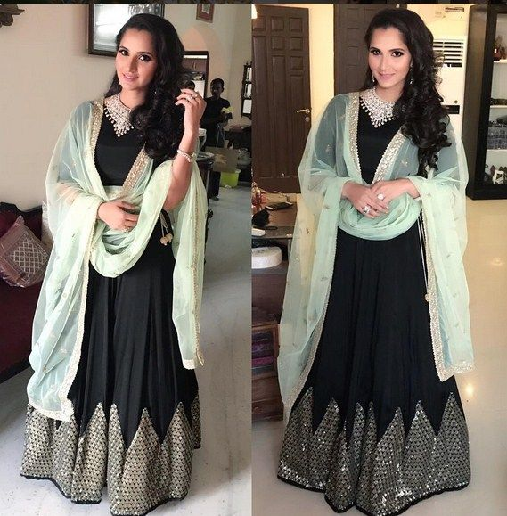 Sania Mirza In An Black Anarkali