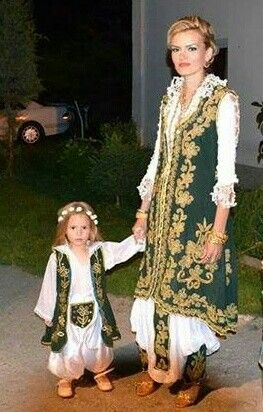 Mother and daughter in bosnian traditional clothes