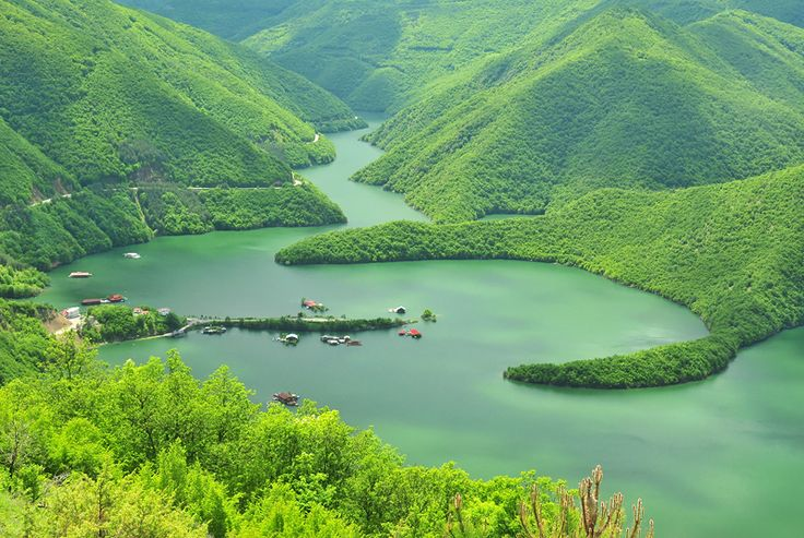 Pontons in Vacha Lake Rhodope Mountains, Bulgaria. Maya Karkalicheva.
