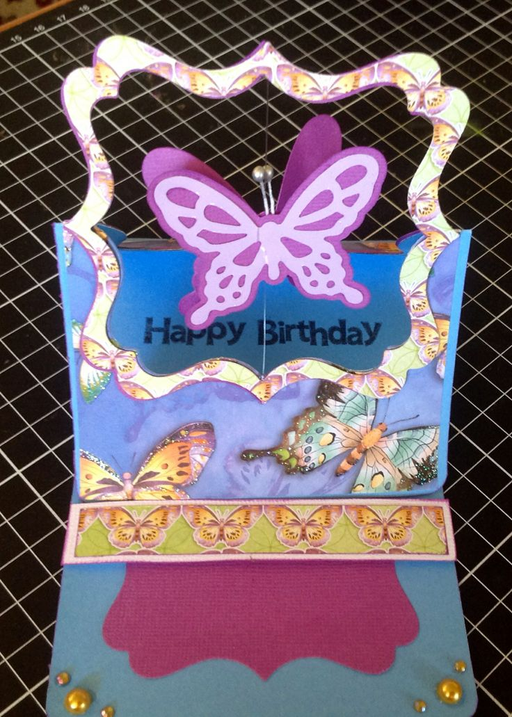 Butterfly easel birthday card. By 2 crafty chicks