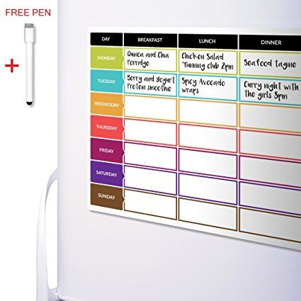 CKB Ltd Meal Diet Planner | Food Prep Nutrition Fitness Magnetic Fridge Board With Pen A3 Dry Wipe Magnet Whiteboard Kitchen Weekly/Daily Ideal For Planning Family Meals, Bodybuilding And Dieting