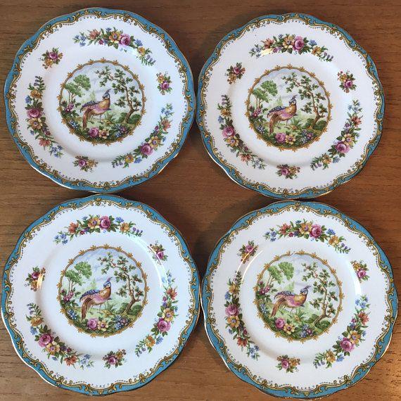 Royal Albert Chelsea Bird Vintage Plates Blue