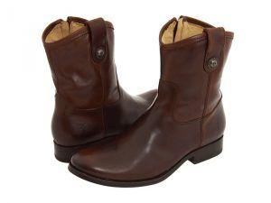 Frye Melissa Button Short (Dark Brown Full Grain Leather) Cowboy Boots