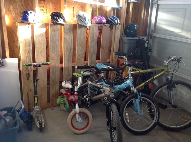 Pallet Bike Rack - my hubby's brilliant idea