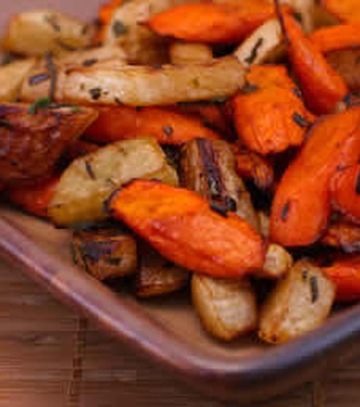 Roasted Carrots and Turnips with Herbs ~ via www.kalynskitchen.com/2007/04/easy-south-beach-recipes-roasted.html