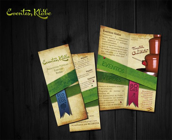 Textural colouring to mock-age this parchment style brochure design & print...