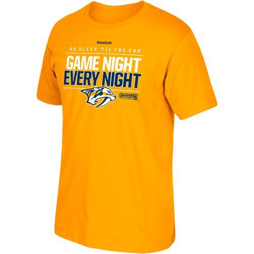 Reebok Men's Nashville Predators Game Night Every Night Short Sleeve T-shirt (Gold, Size Small) - Pro Licensed Product, Nhl Apparel Events at Acade...
