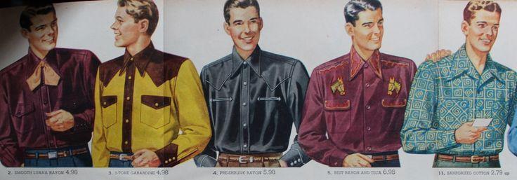Men's 1940s western shirts, cowboy shirts