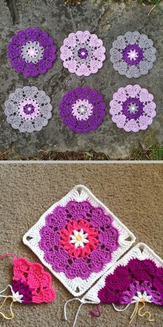 Heart Mandala squared - Original free pattern for Heart Mandala by Crochet Millan (http://crochetmillan.bloggplatsen.se/2014/07/27/10801961-semester-virkning/ ); square, half square, & quarter square modifications by Scrappy Blanket Love . . . . ღTrish W ~ http://www.pinterest.com/trishw/ . . . . #crochet #motif