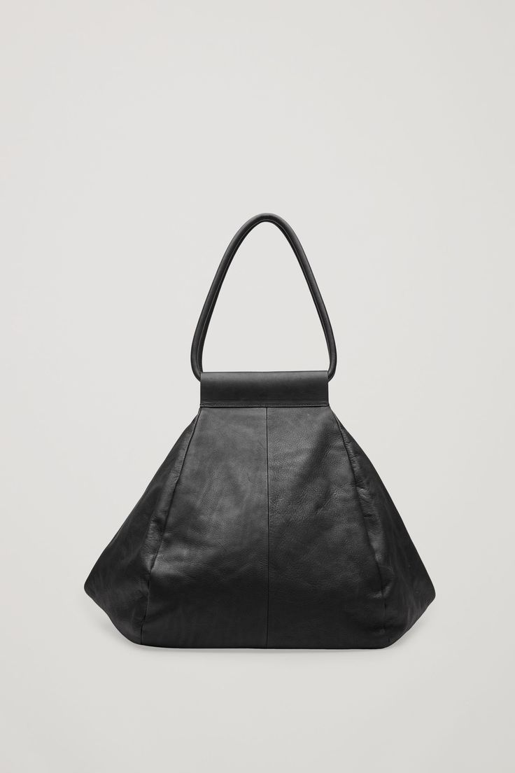 COS image 1 of Folded leather tote bag in Black