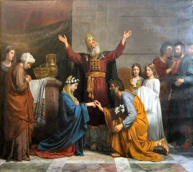 What Are the Mysterious Urim and Thummim?: Depiction of High Priest performing a wedding, wearing the Urim and Thummim breastplate.