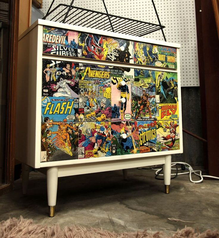 Comic_book_dresser. Decoupage FurnitureRecycled FurnitureVintage FurniturePainted  FurnitureComic ...