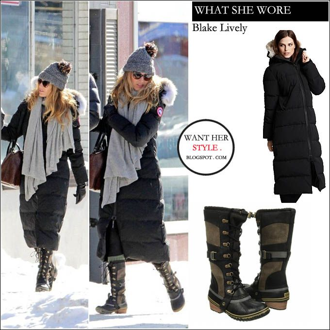 WHAT SHE WORE: Blake Lively in black winter parka with