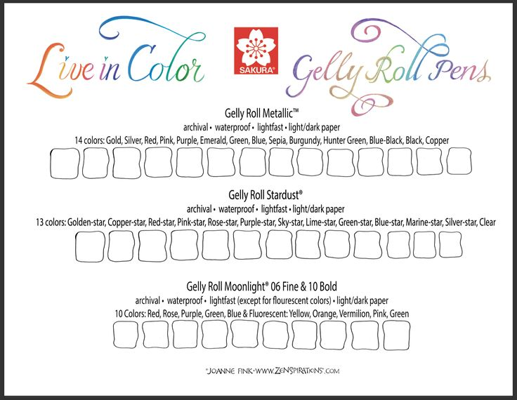 FREE COLOR CHART DOWNLOADS on this week's Zenspirations Blog! Check it out! zenspirations_by_joanne_fink_sakura_gelly_roll_color_chart_small