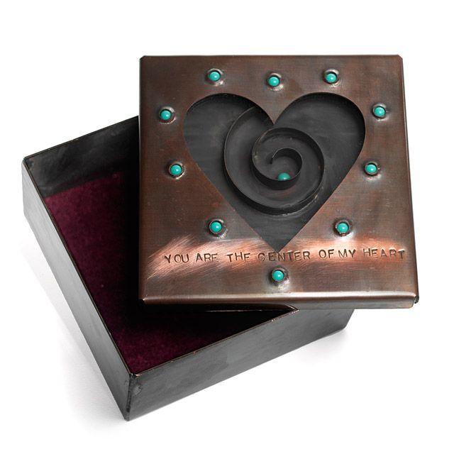 Copper & Glass Heart Reliquary Box