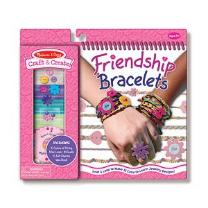 Friendship Bracelets Activity Set - Make cool bracelets to share with your friends! Includes 6 colours of cotton string (45 meters), gold metallic string (3m), charms and beads to customize your bracelets, a mini loom and an illustrated book with full-colour instructions and ideas. Ages 8+. (Product Number MD5062) $9.98 CAD