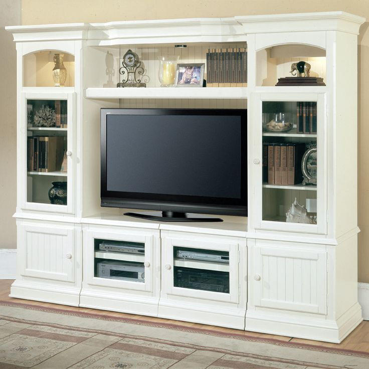 Hartford Expandable Entertainment Wall 4 Piece in Vintage White by Parker House