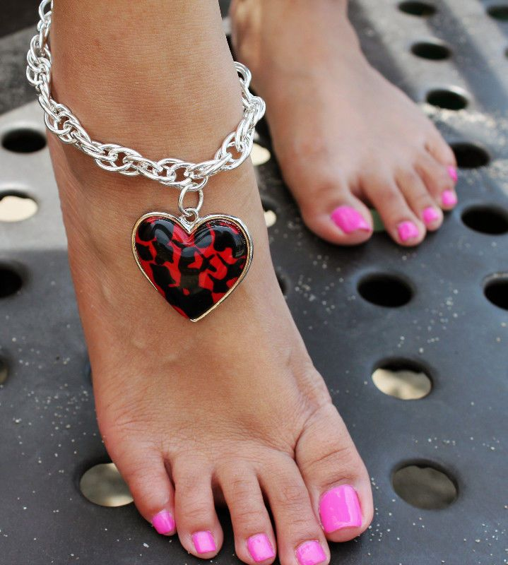 FASHION JEWELRY- Silver Anklet with Red  Heart Shaped Charm