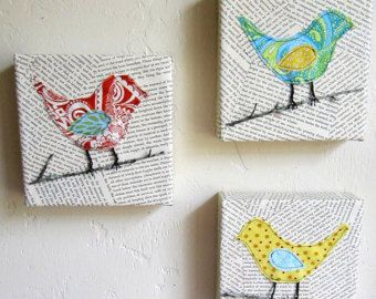 square canvas painting with bird silhouette with scrapbook paper - Google Search