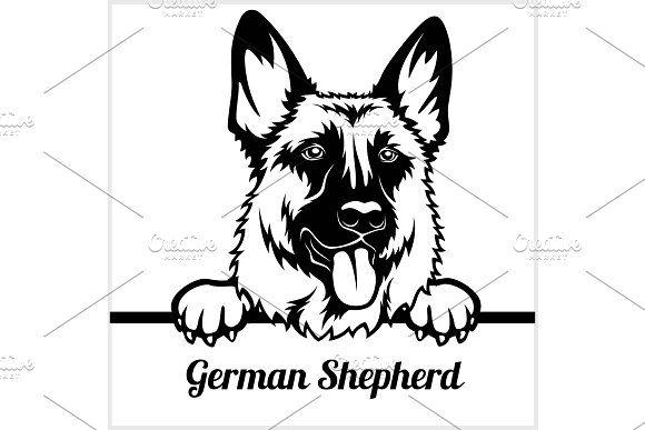 German Shepherd Peeking Dogs Dog Clip Art German Shepherd Dog Silhouette