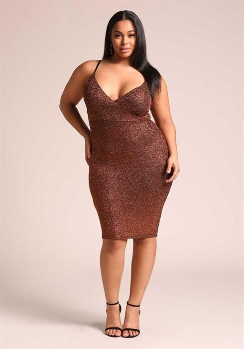 $34.95---Plus Size Sparkle Deep V Bodycon Dress