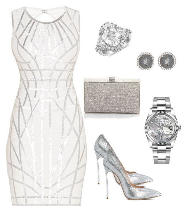 """White Hot Wedding"" by melissad-struebing on Polyvore featuring Hervé Léger, Casadei, Judith Leiber, Rolex, Blue Nile and Monique Péan"