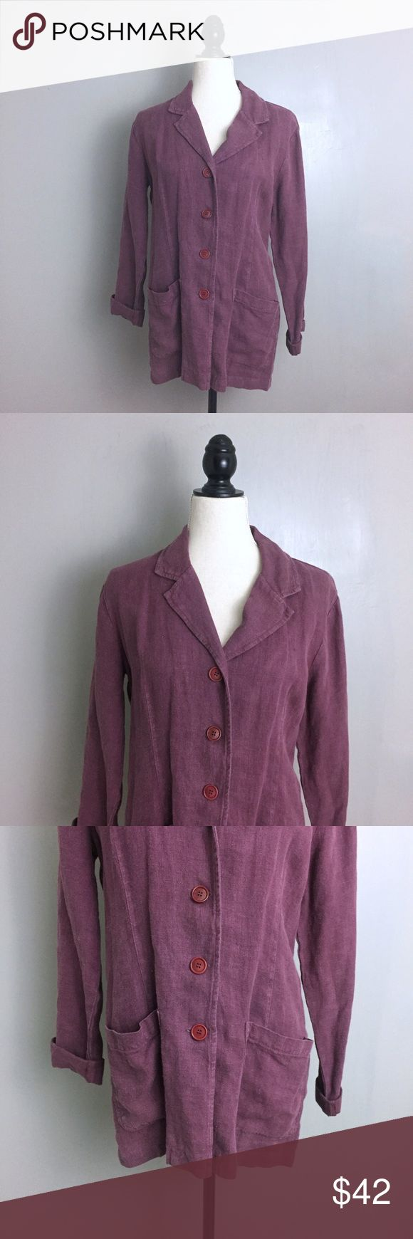 "Johnny Was Collection Purple Linen Blazer Jacket Johnny Was Collection. Size XS. Mauve Purple. Blazer Jacket. Button Down. Front Pockets. Roll up sleeves. Linen. Relaxed fit. Lightweight; opaque. All garments are shown on a size Medium woman's dress form. All measurements are taken unstretched; Pit to pit-    18"" Shoulder to Hem-  30"" . Preowned. Johnny Was Jackets & Coats Blazers"