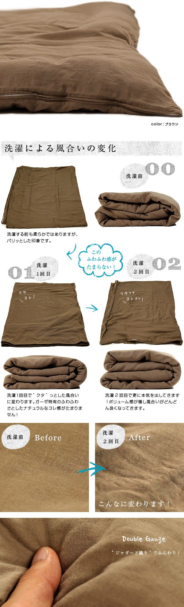 【オーダー対応】ふわっと柔らかだけど丈夫!綿100%ダブルガーゼ掛け布団カバー(2重ガーゼ)