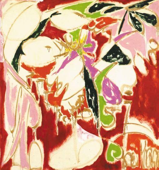 """Lee Krasner, Listen (1957). oil on cotton duck, 63 1/4"""" x 58 1/2""""."""
