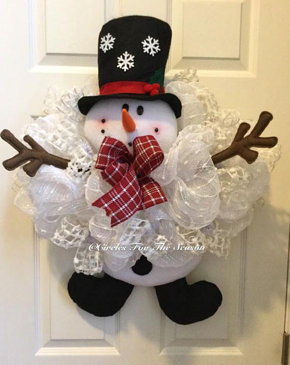 Snowman wreath snowman front door wreath winter wreath