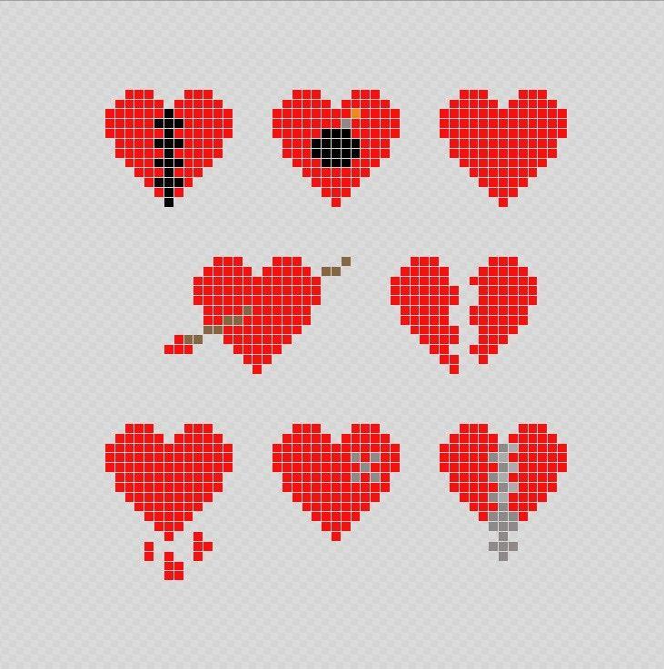 Corazones Pixel Art Patterns Punto De Cruz Patrones Dibujos Pixelados Punto De Cruz