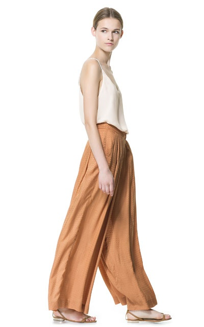 Image 1 of JACQUARD LOOM PALAZZO TROUSERS from Zara