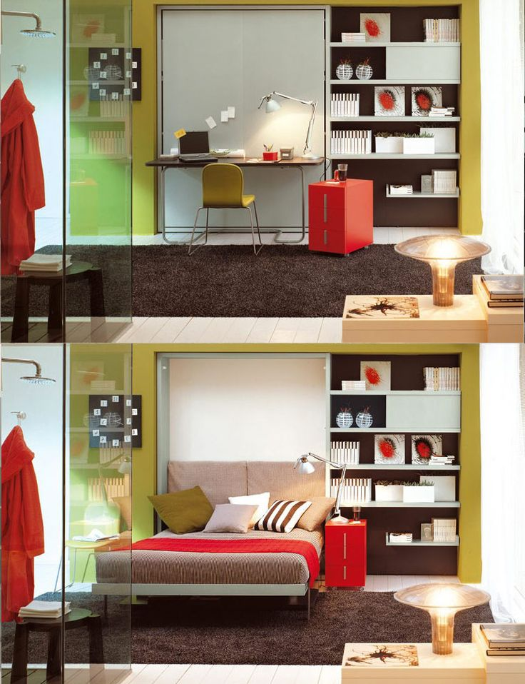 Fold out bed/desk - and check out how the bed & bathroom are shared!
