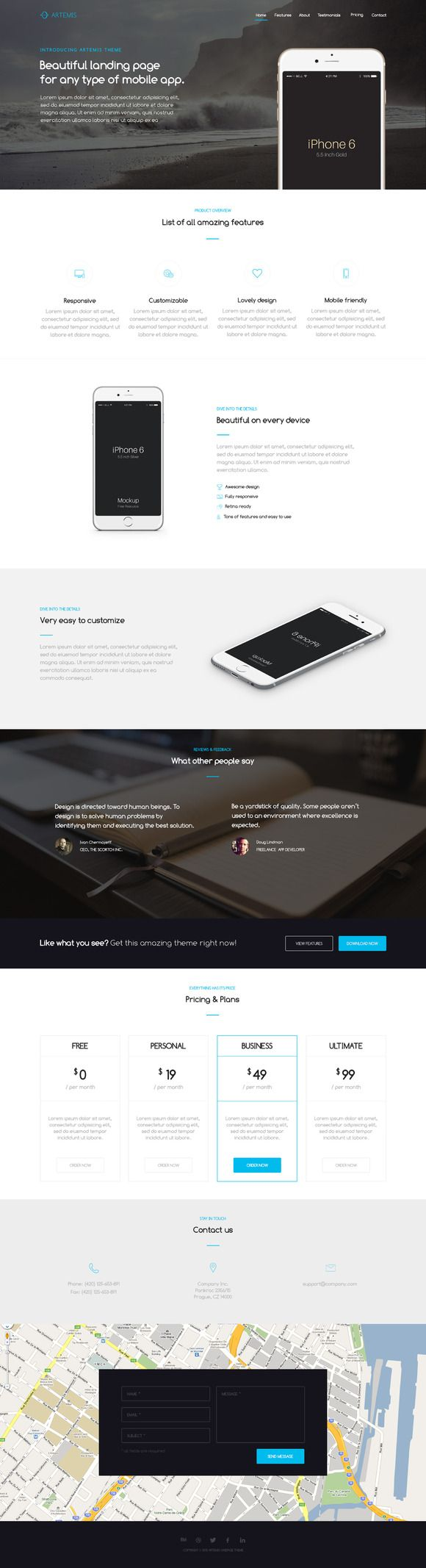 Artemis One-page App template by alexdevero on Creative Market #design #template #web