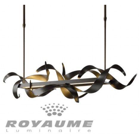 Luminaire rectangle suspendu fer forgé fait à la main couleur anthracite pouvant s'installer sur un plafond en pente. Éclairage au DEL 28W 2700K inclus. Graduable avec gradateur électronique bas voltage.