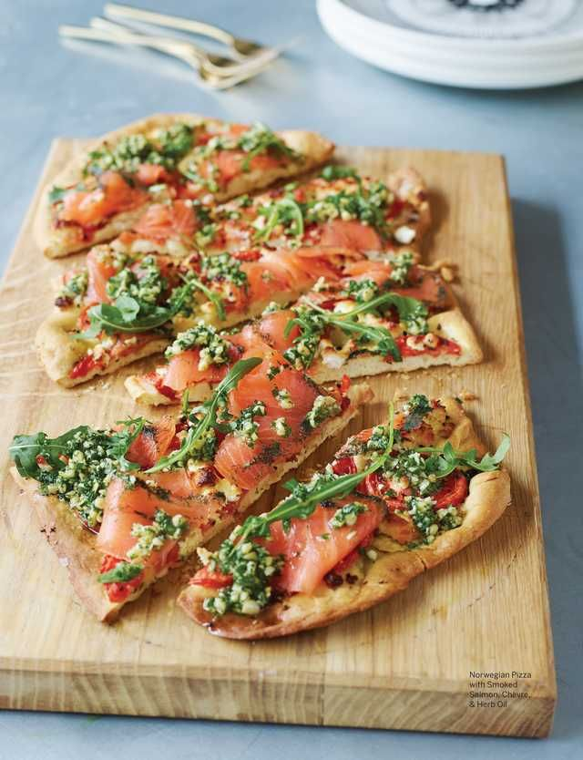Norwegian Pizza with Smoked Salmon, Chèvre, & Herb Oil from Sweet Paul - Spring 2015 - Page 107