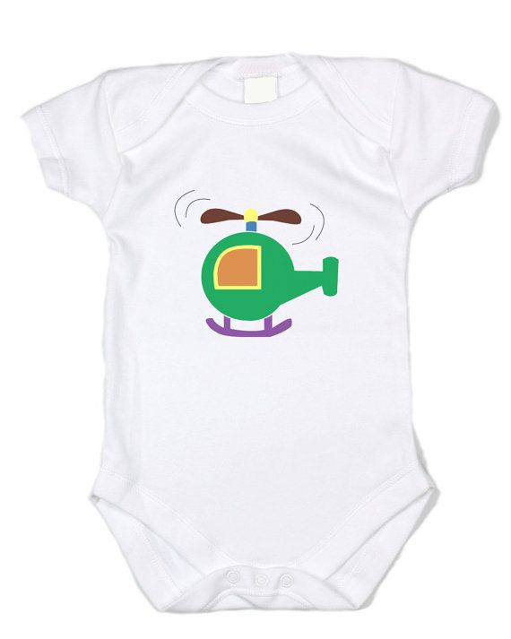 Infant Bodysuit -HELICOPTER (GREEN/ORANGE graphic, white bodysuit)- Infant Bodysuit, funny clothing, onesie, baby clothing, funny clothing