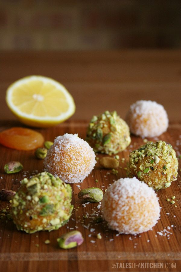Apricot 'truffles' with pistachios and coconut. Raw. Vegan.