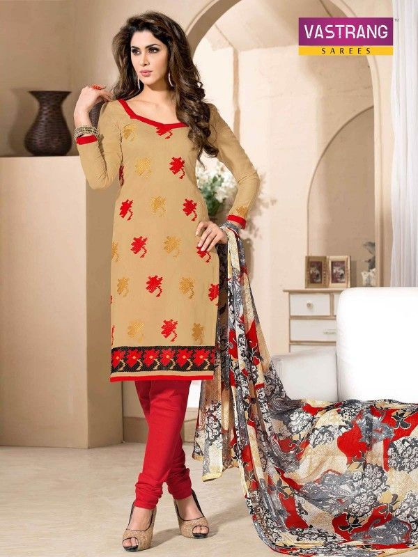 Red and beige embroidered suit with matching dupatta
