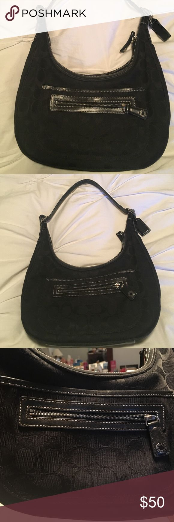 Black Coach Hobo Bag You are bidding on an authentic black Coach hobo bag. Gently used and perfect size to wear on your shoulder. Coach Bags Hobos