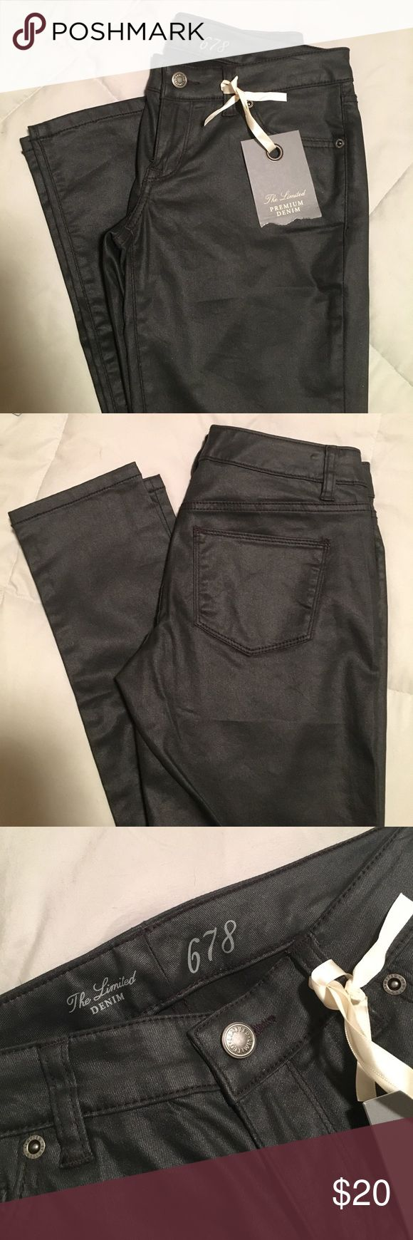 Leather Skinny Jeans Jegging style black leather jean skinny jeans. Size 0, but run a little big. New with tags. The Limited Denim Jeans Skinny