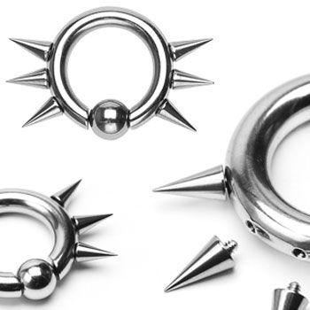 316L Surgical Steel Easy Snap-In Captive Bead Ring w/ 6 Internal