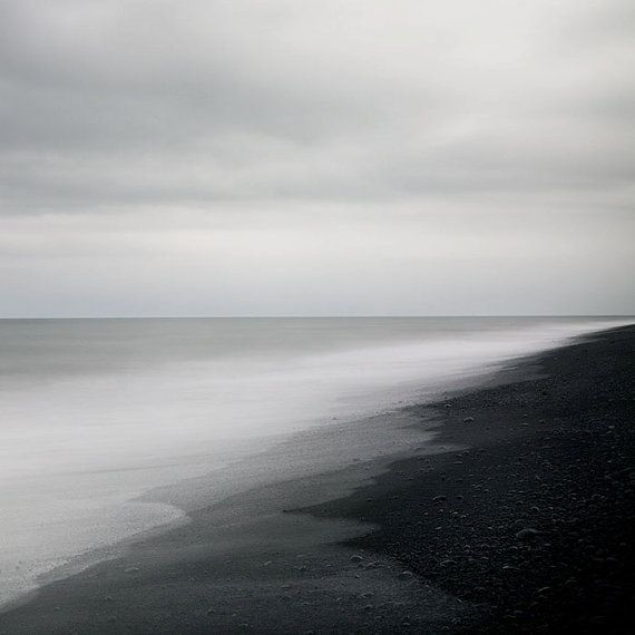 Black Sand Beach in Iceland, Minimal Landscape Photography, Abstract Modern Art Print, Water, Ocean, Sea, Nautical - The Ghost in You