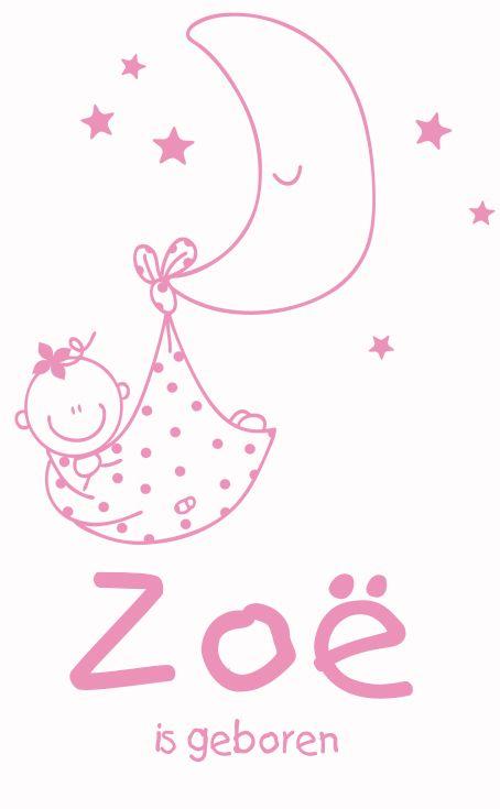 Geboortesticker baby en maan type Zoë