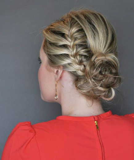 Step 4 | This pretty style, created for Real Simple by The Small Things blogger Kate Bryan, calls for a French braid on one side of the head.