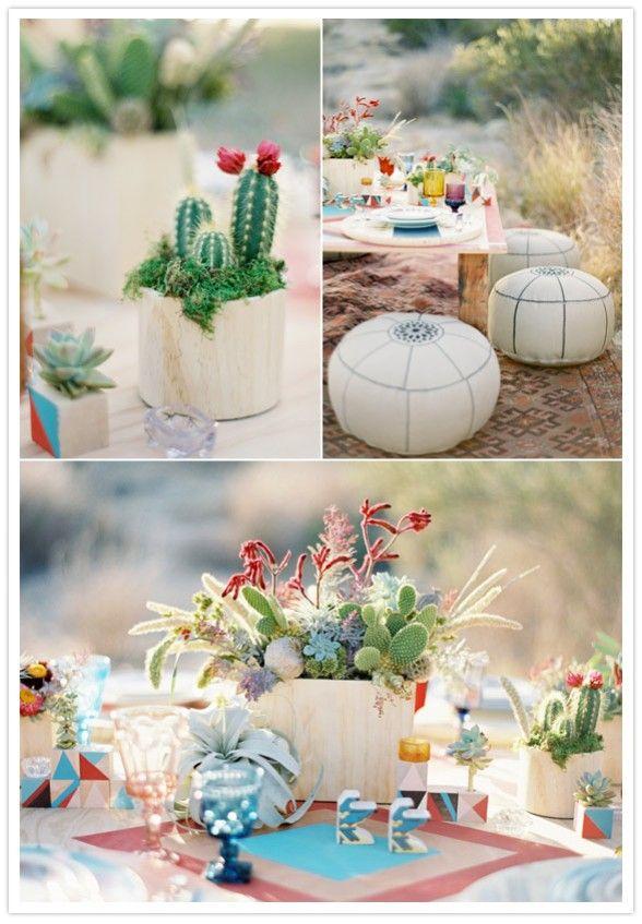 A Lovely Thyme - Cactus centerpieces photos by Jose Villa